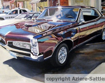 """Original Oil painting of classic GTO, at a car show in Missouri. Titled"""" Goats and Pigs"""""""