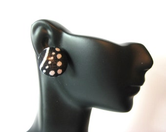 Black and White Dot Fabric Earrings, Fabric Button Earrings, Fabric Stud Earrings, Fabric Covered Button