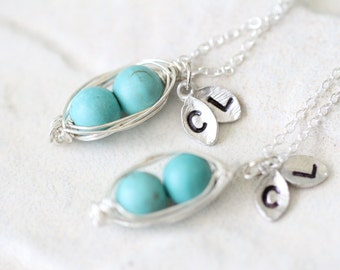 Pea Pod Necklace Set / Two Peas in a Pod / Best Friend / Custom Initials / Hand Stamped / Gift for Her / Mother / BFF / Daughter / Turquoise