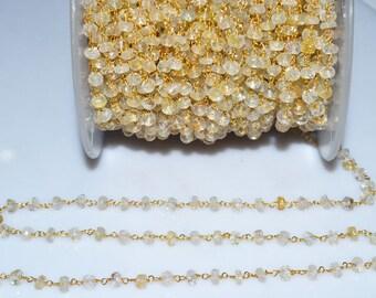 Beautiful Lemon Topaz Rosary Beaded Chain-Lemon Topaz Beaded Gold Wire Wrapped Chain , 4.50-5 mm - RB5015