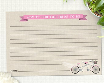 "Printable Tandem Pink Bicycle Advice Card, Bridal Wedding Shower, 6""x4"", JPG Instant Download"