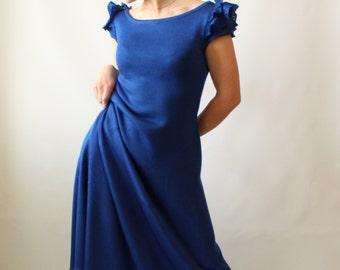 Long tee dress Short sleeve dress Maxi dress Blue knit dress Fit flare dress Aline skirt dress Summer sweater dress Ruffle sleeve dress