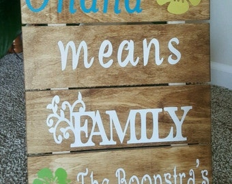 Personalized Name Wooden Sign-Ohana means family