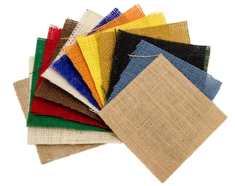 "Burlap Samples - 5"" x 5"" Size, Natural and Color Burlap Included, 100% Jute"