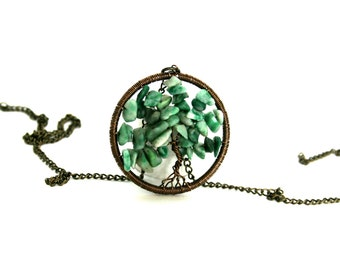 Antique Gold and Green Turquoise Tree of Life Pendant