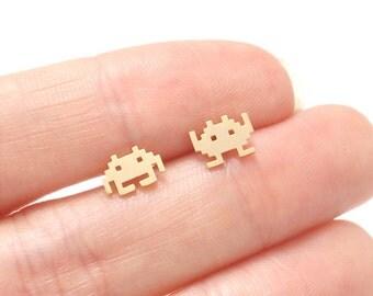 Game Space Pixel Invaders Stud Earrings