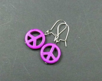 Pink earrings turquoise peace sign of earrings