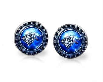 House Stark Stud Earrings Winter is Coming Game of Thrones Fandom Jewelry  Geeky Fangirl Fanboy