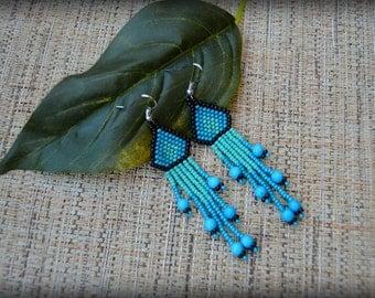 Blue Fringe Earrings,Turquoise Earrings,Blue Earrings,Beaded fringe Earrings,Seed bead earrings,Nickel Free,Gift for her,Small Fringe