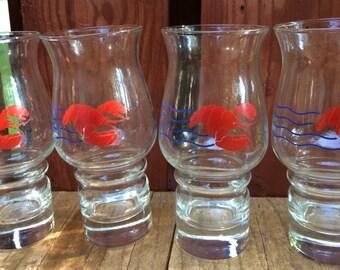 Set of 4 Vintage 1980s Red Lobster Glasses/Hurricane Glasses/Vintage Barware