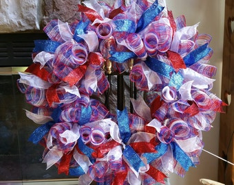 Deco Mesh Wreath, 4th of July, spiral