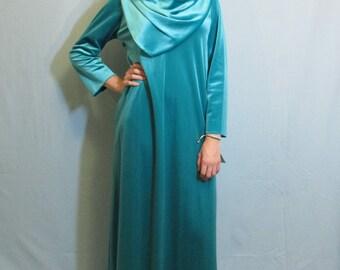 1960 Draped Front and Back Hostess Dress | Trapeze | Lounge Dress | Hippy | NOS Keyloun | Modern Size XS - Small