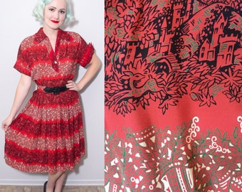 Vintage 1940's Castle, Fawn & Swan Novelty Print Red Rayon Dress | Size Small