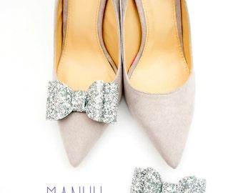 Silver glitter bows - shoe clips Manuu, Bridal shoe clips, Wedding shoe clips, Wedding shoes