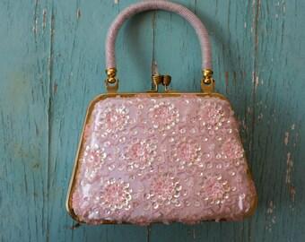 Vintage Sequined, Beaded, Evening Bag/Purse, Clutch, Lavish Glass beadwork, ca. 1960's,  Pale Pink, Satin