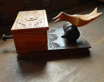 Cigarette dispenser vintage, wooden cigarette holder, Tobacciana, bird display box, handmade carved cigarette case box, Made in France,