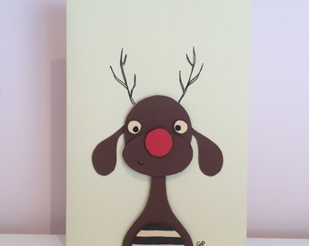 Set of 2 3D christmas cards (penguin and reindeer)