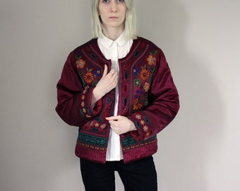 Vintage Indian/Ethnic Style Purple Floral Embroidered Mirrored Padded Jacket - One Size