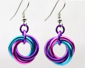 Single Knot Earrings - Violet, Turquoise, Pink colors - Elegant Lightweight Earrings - Anodized Aluminum - Chainmaille - Simple Knots Hoops