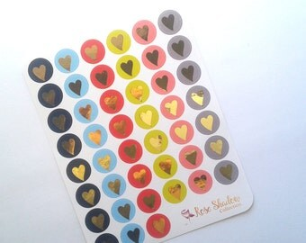 Foiled heart stickers Tisha Collection