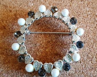 Vintage Coro Silver Heart, Pearl & Rhinestone Brooch