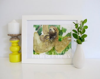 Sloth Watercolour Print, Green And Brown Illustration, Leaves, Unframed Art Print