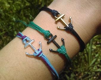 Anchor Surfer Bracelet, Friendship Bracelet, Boho Wax Cord, Nautical Charm Bracelet, Stackable Beach Bracelet, Waterproof Wax Cord Bracelet