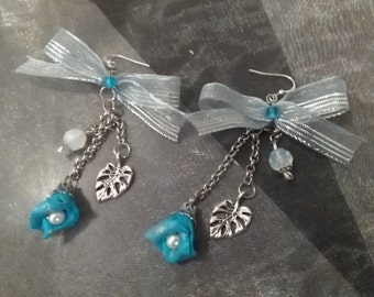 Turquoise flowers Earrings polymer clay, czech glass beaded