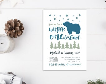 Winter Onederland Invitations/First Birthday Party/Decorations/Boy/1st Birthday Invites/Holiday Card/Bear/Snow/Blue/Green/Modern/Baby/Cold