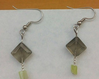 Smoke and peridot glass bead dangle earrings