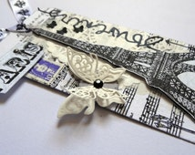 Tag Eiffel Tower Paris / Eiffel tower / collage towel / napkin collage / oak tag