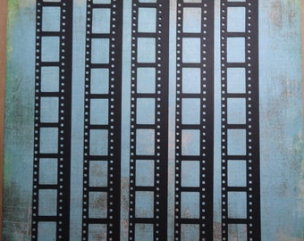 Film strip cuts in black 9 frames / cuts style film 9 photo frames - set of 5 / set of 5 pieces