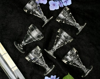 6 Art Deco bistro glasses Early 20th century / French Art Deco glasses 1900 to 1940