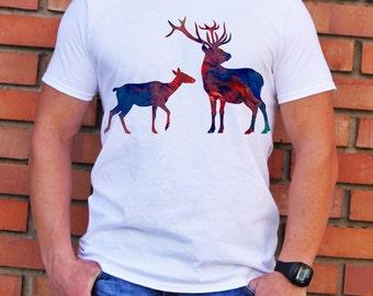 Cool Deer T-Shirt - Art Tee - Fashion T-shirt - White shirt - Printed shirt - Men's T-shirt - Gift
