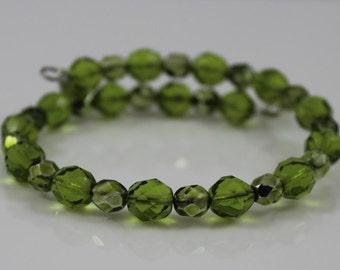 Olivine Fire-Polished Czech Glass Beads Bracelet