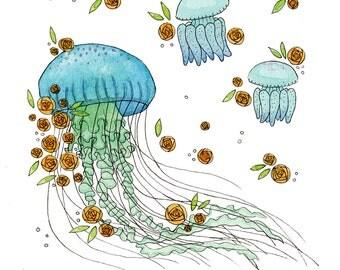 Floral Jellyfish Digital Art Print - A5