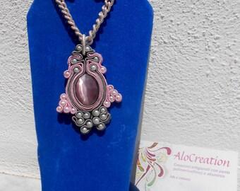 sautache/earrings and beaded soutache charm necklace/semiprecious stones/necklace/earrings (S02)