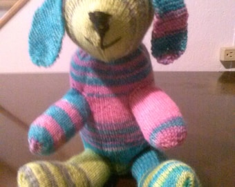 hand knit toy dog