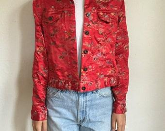 90's Style Oriental Print Jacket