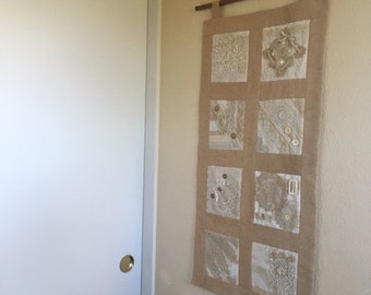 Vintage Lace and Button Wallhanging