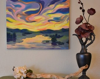 Oil Painting- Calm River Sunrise Impression, Sunset