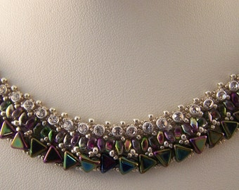 ras neck 36cm purple and green with Rhinestone necklace