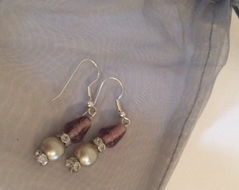 Hand Made Silver Plated Earrings - Vintage Swarovski Crystal, Pearls and Beading
