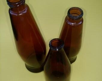 Vintage Brown Glass Bottles/ Vintage Steampunk Art Glass Brown Bottles