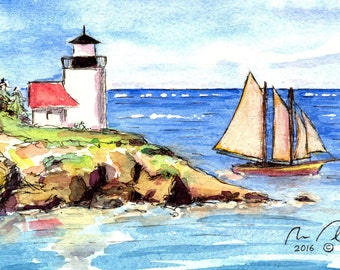 Lighthouse with Sailboat - Original Watercolor Painting