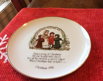 Vintage 1974 Holly Hobbie Christmas Plate