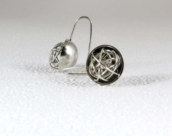 Half sphere plated rhodium earrings