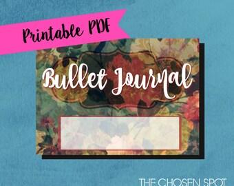Bullet Journal Label, notebook label, bullet journal accessories, bujo sticker, vintage floral label, printable label, 5 x 7 label, flowers