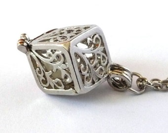 Silver Filigree Tree Glow in the Dark Cube Pendant Necklace