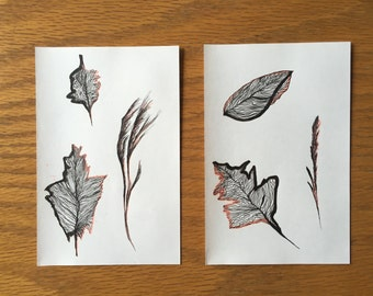 Fall 1 - Illustrations sheets with lines and color orange soft paper with ink black